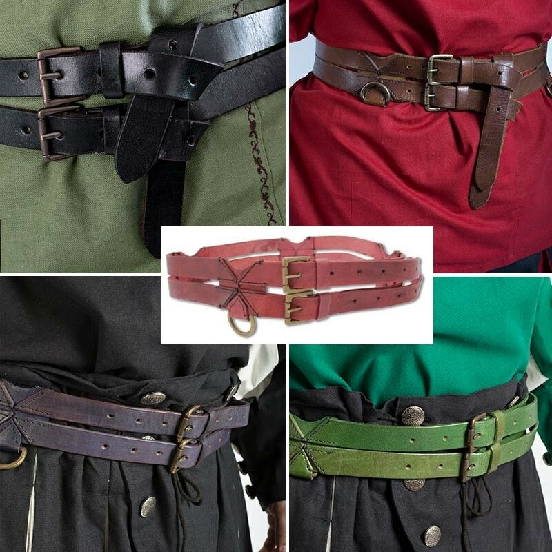 The Warrior Twin Leather Tunic Belt - Perfect For Stage Costume & LARP 5 Colours