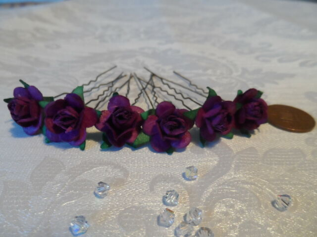6 ROSE HAIR PINS GRIPS FLOWER WEDDING ACCESSORIES MANY COLOURS