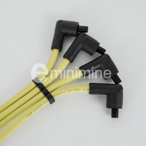 Classic mini 8mm jaune silicone ht plug leads mpi GHT289 rover cooper 40 sport