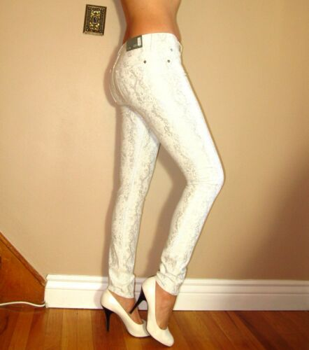 $198 7 For All Mankind High Rise Skinny Jeans White Silver Metallic Snake 27-29