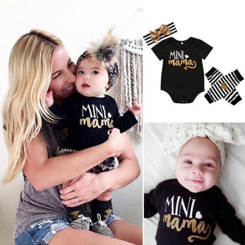 Mama/'s Mini Newborn Infant Baby Girl Romper+Leg Warmer+Headband Clothes Outfits