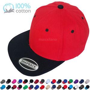 Snapback-Hat-Ball-Cap-Cotton-Solid-Blank-Classic-Visor-Flat-Brim-Hip-Hop-Fashion