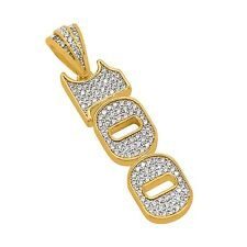 Hip Hop 14k Gold Plated Iced Out Lab Diamonds 100 Hundred Dollar Charm W/ Chain