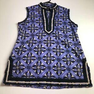 Dana-Buchman-Womens-Sleeveless-Blouse-Tunic-Top-XL-Multicolor-Floral-Bold-Preppy