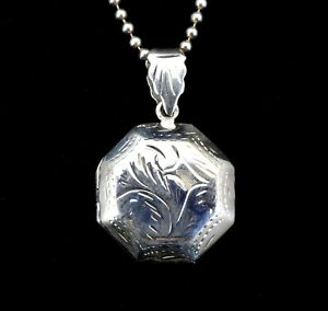 Handcrafted-Solid-925-Sterling-Silver-Etched-Floral-Octagon-Locket-Pendant