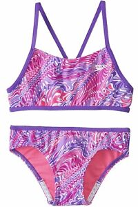 12 Sizes 10 NWT Girls/' Speedo Bikini Swimsuit Sets 16 Pink//Purple Geometric