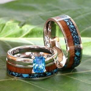 Wood Wedding Bands.Details About His And Her 3 Piece Wedding Band Set Turquoise Koa Wood Steel Silver Engagement