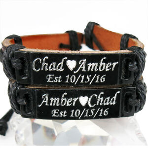 personalized leather bracelet handmade customized with name for