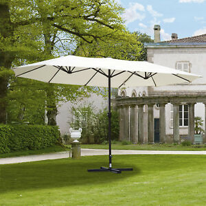 Outsunny 15u0027 Double Sided Patio Umbrella Parasol Sun Shelter Market Canopy  Shade