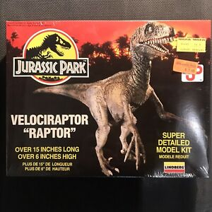 Jurassic-Park-Velociraptor-Raptor-Model-Kit-Mint-In-Box-Still-Sealed