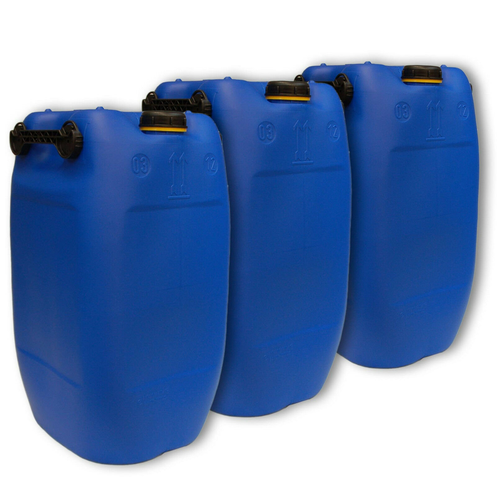Lot van 3 blauw blikken 60 L DIN71 1 accessoire, tapgoot flexibel, 3 handgrepen