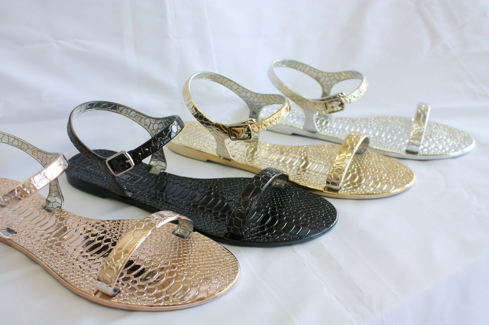 New Ankle Women BONAIRE Jelly Sandals Ankle New Strap Flats Gladiator 007586