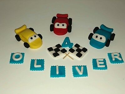 Lightning McQueen racing cars flags personalised cake topper handmade 3D edible