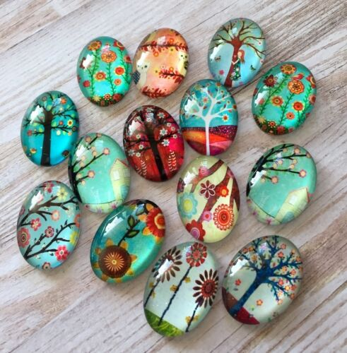 size 25x18mm 10 pcs  Glass Domed Oval Cabochons mix floral tree pattern