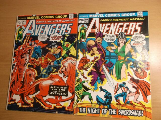 MARVEL: AVENGERS #112 & 114, 1ST APP. OF MANTIS, GOTG MOVIE, 1973, GD/VG - FN/VF