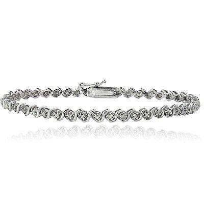 925 Silver 1/4ct TDW Natural Diamond S Design Tennis Bracelet