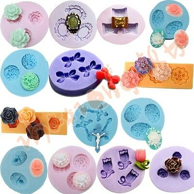 14 Flower Silicone Mold Mould For Chocolate Craft Clay Fondant Cake Decorating