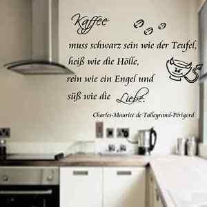 Wandtattoo Küche Kaffee muss schwarz sein wie der Teufel ...
