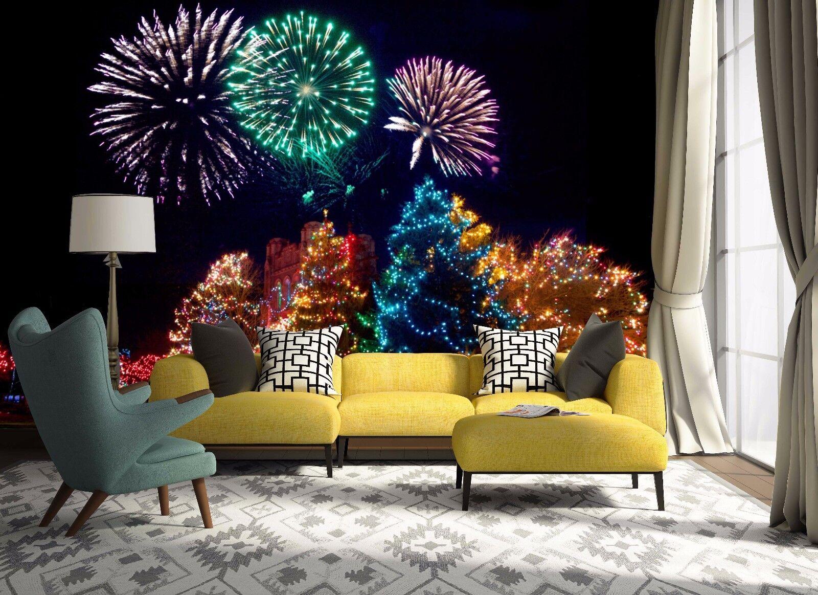 3D Farbe Trees Fireworks 74 Wallpaper Mural Paper Wall Print Wallpaper Murals