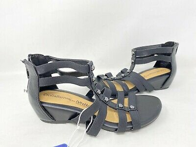 NEW Croft And Barrow Women/'s Gilding Zip Up Strappy Sandals Blk #158456 140Y tk