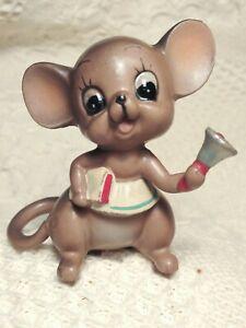 Vintage-Old-Josef-Original-Brown-Mouse-School-Teacher-with-Bell-Figurine-Japan