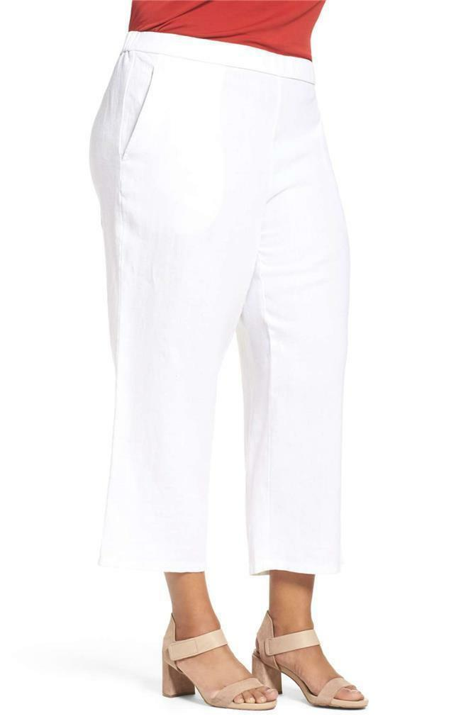 NWT EILEEN FISHER Women's White Organic Linen Wide-leg Cropped  Pants PLUS 3X