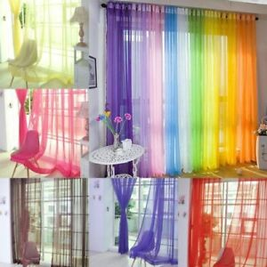 (2 Panels) Pair Of Rainbow Voile Slot Top Panels -Top Quality Net Voile Curtain
