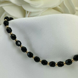 Black-Faceted-Czech-Medical-ID-Alert-Replacement-Bracelet-MA108-Gold-or-Silver