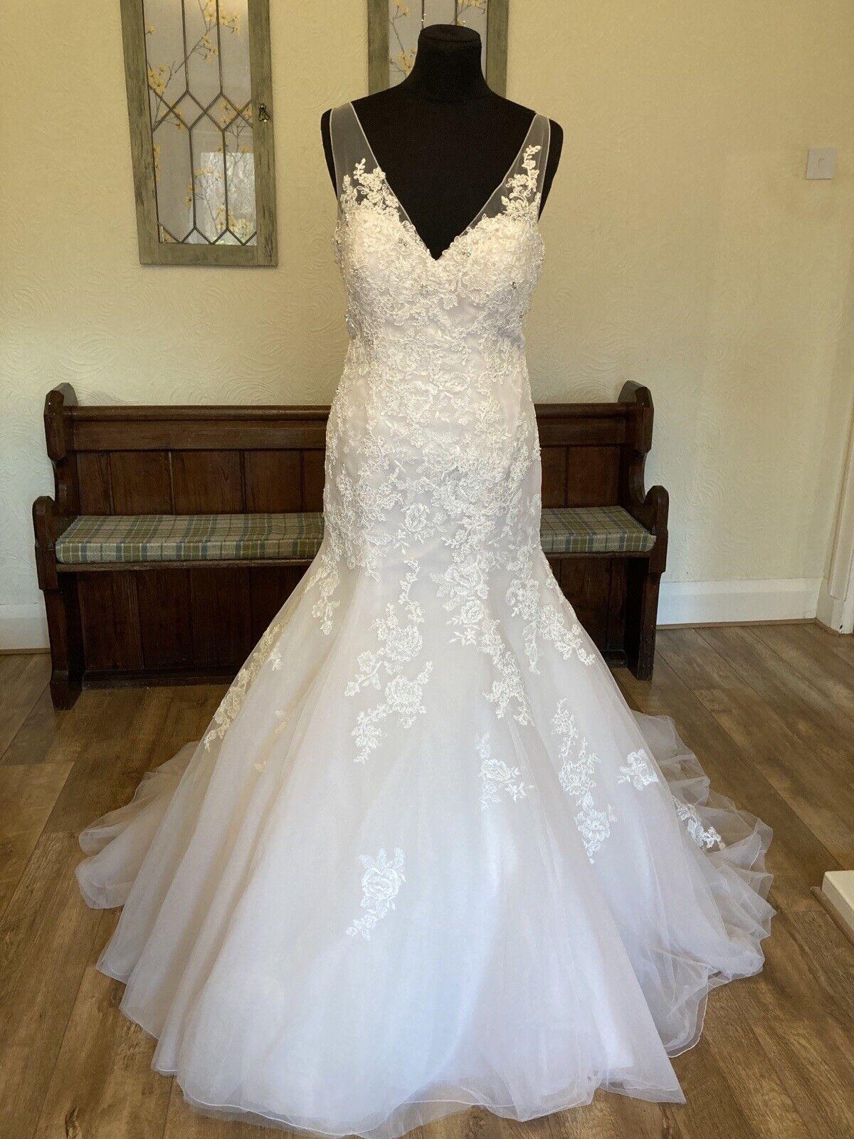 Ex Sample Ellis Bridal Blush Pink Fit Flare Lace Straps Wedding Dress Gown 14