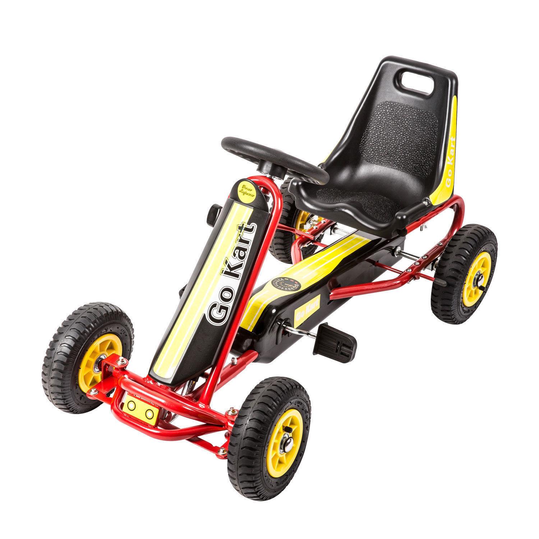 Go Kart Kids Ride On Car Pedal Powered Car 4 Wheel Racer Toy w  Brake Yellow