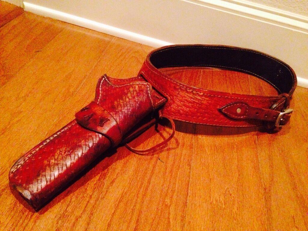 De Colección WESTERN  Jay  cinturón pistolera labrada de Cuero cestería