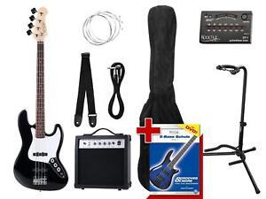 Rocktile-Groover-039-s-Pack-JB-E-Bass-Set-II-Black-Stimmgeraet-Staender