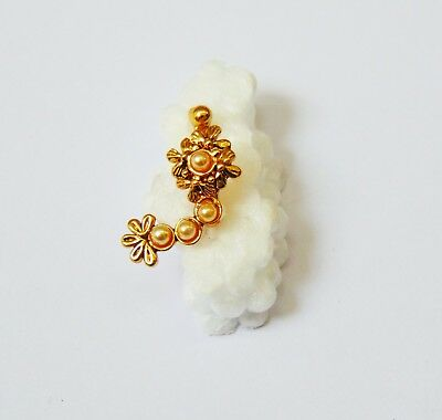 Indian Wedding Nath Gold Plated CZ Nose Ring Fake Septum Clip Fashion Jewelry