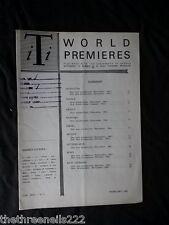 INTERNATIONAL THEATRE INSTITUTE WORLD PREMIER - FEB 1962 VOL 13 #5