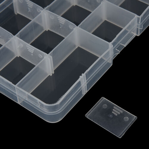 15 COMPARTMENT CLEAR PLASTIC TACKLE BOX Fly Fising LURE Tool Case SL