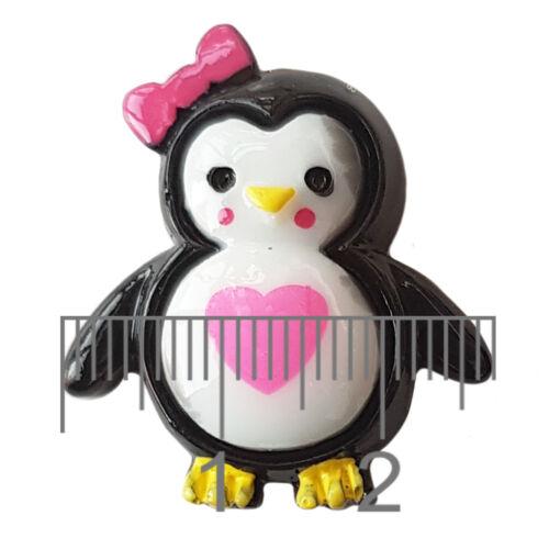 Lindo Kawaii Dorso Plano Cabujones Adorno De Resina De Pingüino Decoden Craft 4 un