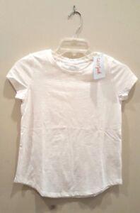 Cat-amp-Jack-Girls-039-White-Everyday-Basic-Short-Sleeve-Tee-Shirt-Size-M-Plus