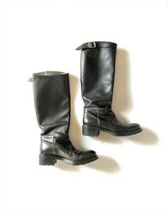 HOGAN black knee high leather riding boots with straps & buckle  - size 39