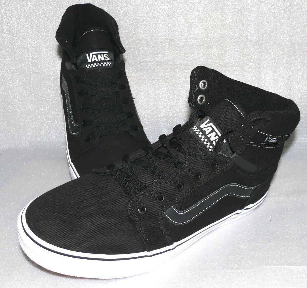 Vans Sanction Sneaker Canvas Skater Herren Schuhe Boots EU 42 US9 Schwarz Weiß