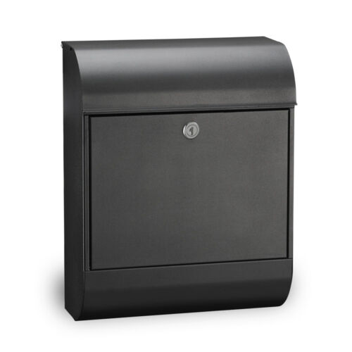 Wall Mounted Secure External Postbox Letterbox MEFA Pearl Mailbox Black