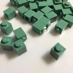 Zabawki konstrukcyjne LEGO LOT OF 50 NEW SAND GREEN 1 X 2 MASONRY BLOCKS WITH BRICK PROFILE