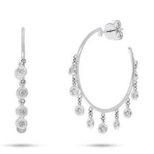 0-44-CT-14k-White-Gold-Natural-Round-Diamond-Dangle-Shaker-Bezel-Hoop-Earrings