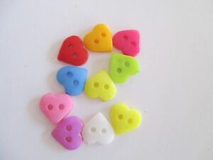 Details about 10 x 10mm MIXED COLOURS 2 Hole HEART shaped Button C630
