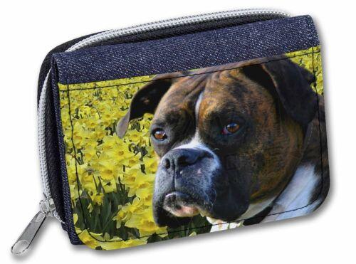 AD-B27DAJW Boxer Dog with Daffodils Girls//Ladies Denim Purse Wallet Christmas G