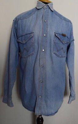 Sw321 Da Uomo Wrangler Vintage Stone Wash Denim Blu Camicia A Maniche Lunghe Misura Large-mostra Il Titolo Originale Saldi Di Fine Anno