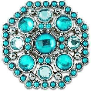 Lindsay-Phillips Switch SNAP KYLIE Aqua Crystal Silver Medallion w Rhinestones