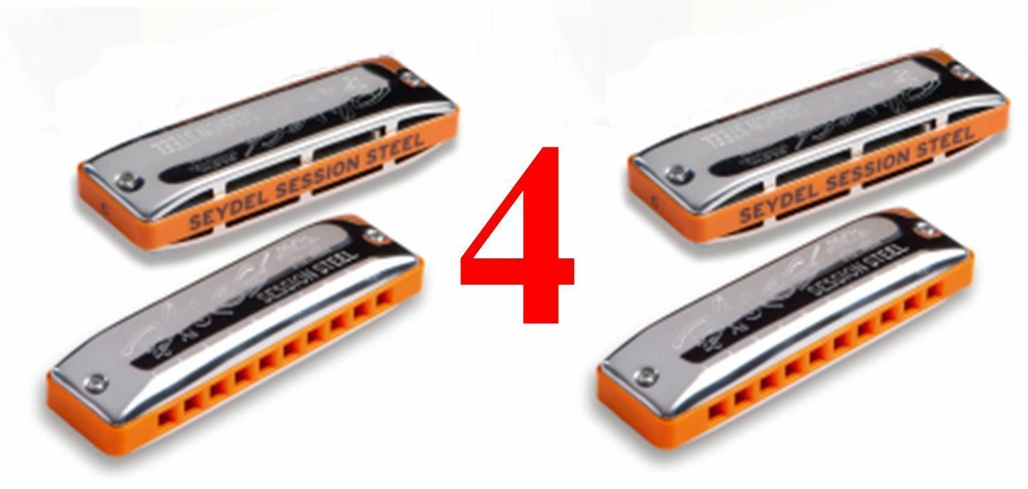 4 Seydel 1847 Session Steel Reed Harmonicas & 4 Leather Cases  CHOOSE ANY 4 KEYS