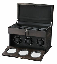 New High Quality VOLTA Automatic 3 Watch Brown Winder Box + 5 Watch Storage Case