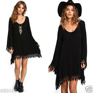 Women-039-s-Casual-Long-Sleeve-Oversized-Tassel-Shirt-Loose-Mini-Dress-Tops-Blouse
