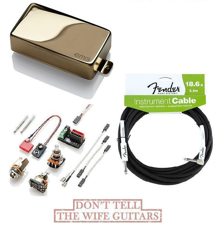 EMG 60A Gold ACTIVE ALNICO HUMBUCKER PICKUP ( FREE FENDER 18 FT CABLE )